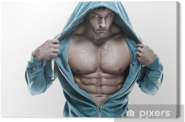 Strong Athletic Man Fitness Model Torso showing six pack abs. is Canvas Print - iStaging