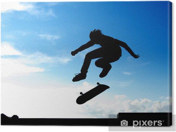 Stunt of skater Canvas Print - Skateboarding