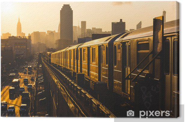Subway Train in New York at Sunset Canvas Print - Styles