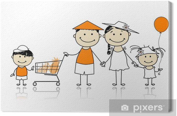 Summer holidays. Happy family with shopping basket Canvas Print - Fashion