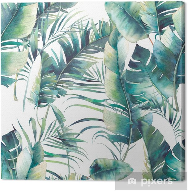 Summer palm tree and banana leaves seamless pattern. Watercolor texture with green branches on white background. Hand drawn tropical wallpaper design Canvas Print - Plants and Flowers