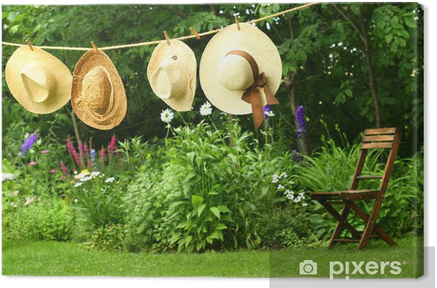 Summer straw hats hanging clothesline Canvas Print - Entertainment