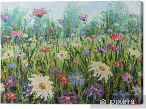 Summer wild flowers, oil painting Canvas Print - Plants and Flowers