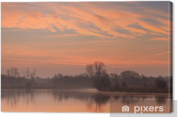 Sun rising at a small pond in Holland. Canvas Print - Seasons