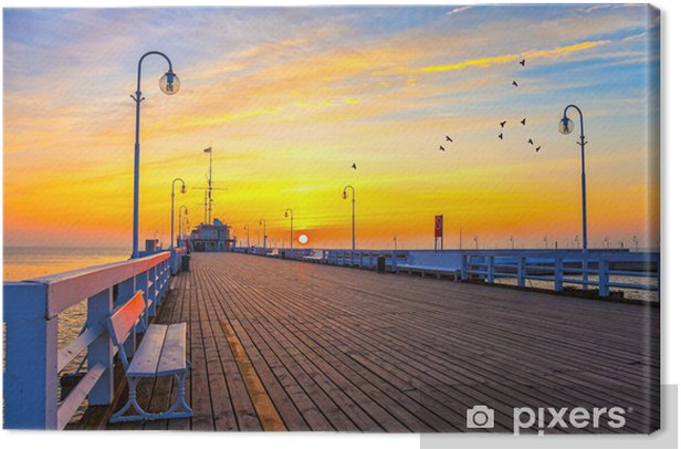 Sunrise at the Molo in Sopot, Poland. Canvas Print - Themes