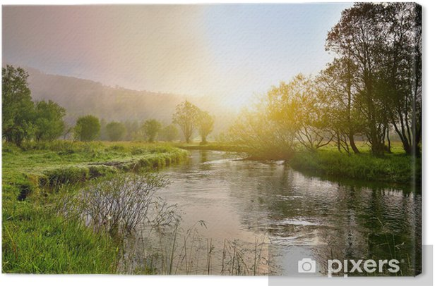 Sunrise on a smal river with fog Canvas Print - Themes