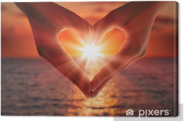 sunset in heart hands Canvas Print - Destinations