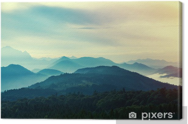 Sunset in mountains Canvas Print - Landscapes