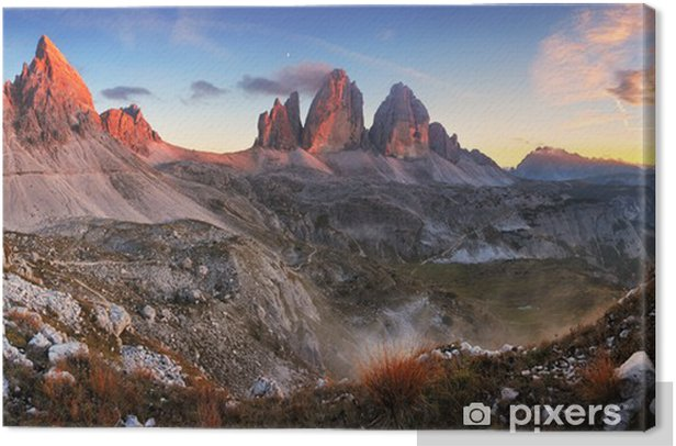 Sunset mountain panorama in Italy Dolomites - Tre Cime Canvas Print - Themes