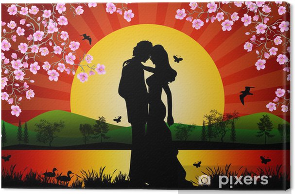 0ea511e5072 Sunset on a lake with a romantic couple under cherry trees Canvas Print
