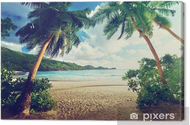 sunset on beach, Mahe island, Seychelles Canvas Print - Themes