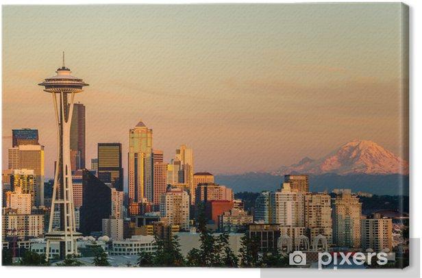 Sunset over Seattle and Mount Rainier Canvas Print - Urban