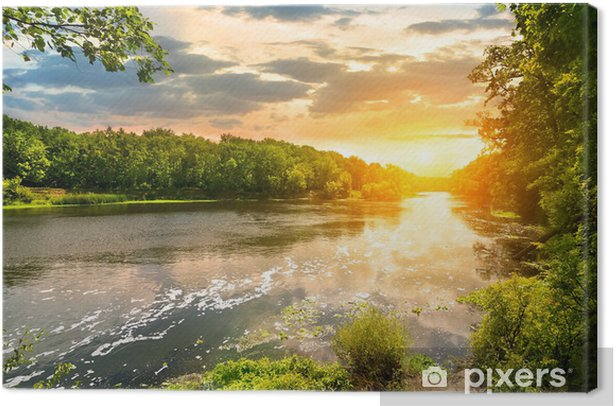 Sunset over the river Canvas Print - Themes
