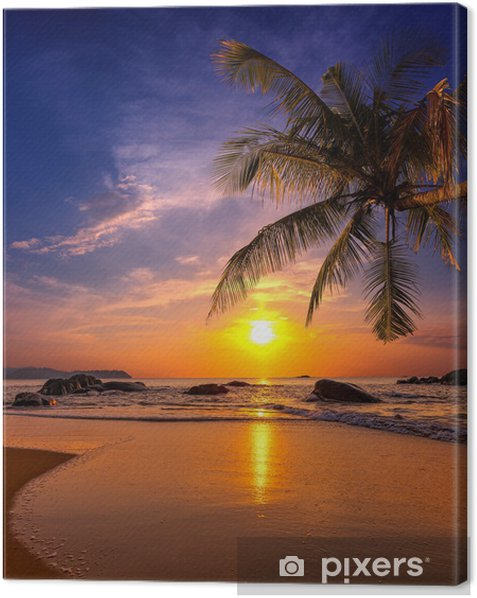 Sunset over the sea. Province Khao Lak in Thailand Canvas Print -