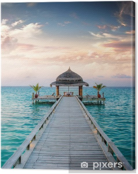 Sunset / Sunrise Jetty at Maldives / Malediven Canvas Print -