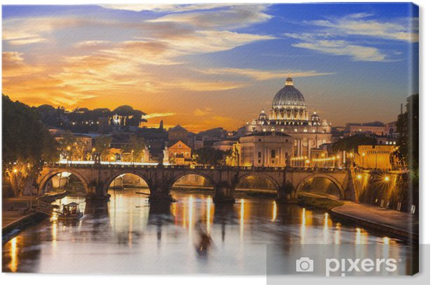 Sunset view of Basilica St Peter and river Tiber in Rome. Italy Canvas Print -