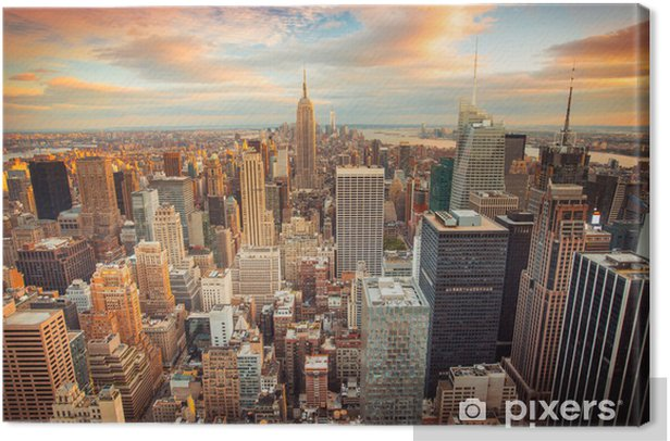 Sunset view of New York City overlooking midtown Manhattan Canvas Print -