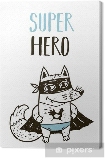 Super Hero fox drawing for greeting card or tee print Canvas Print - Hobbies and Leisure