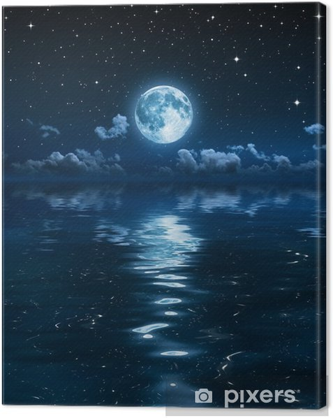 super moon and clouds in the night on sea Canvas Print -