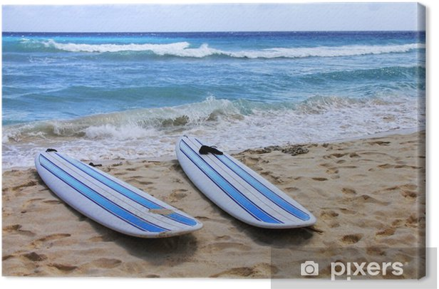 Surfboards at beach Canvas Print - Themes