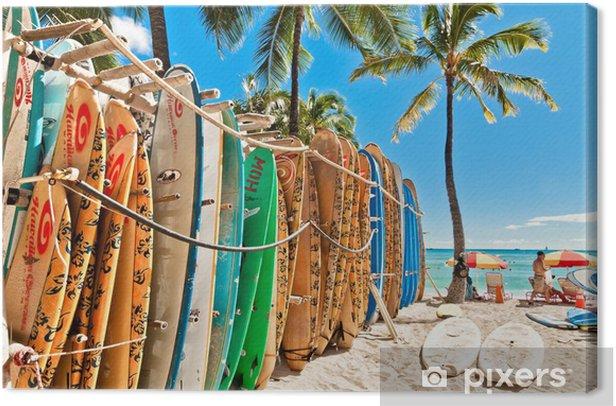 Surfboards in the rack at Waikiki Beach - Honolulu Canvas Print - Hawaii