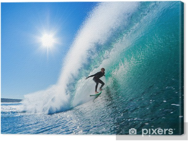 Surfer on Blue Ocean Wave Canvas Print - Themes