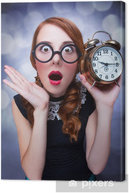 Surprised redhead girl with clock. Canvas Print - Themes