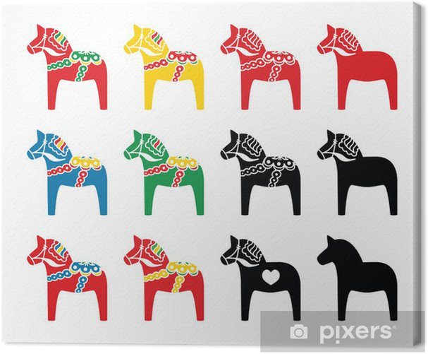 Swedish dala horse vector icons set Canvas Print - Styles