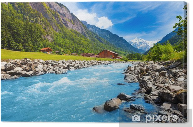 Swiss landscape with river stream and houses Canvas Print - Themes
