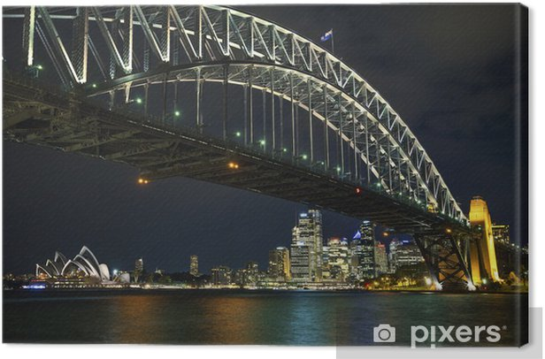 sydney harbour bridge in australia at night Canvas Print - Themes
