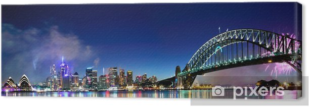 Sydney Harbour NYE Fireworks Panorama Canvas Print - Themes