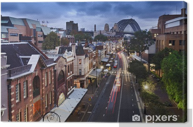 Sydney The Rocks bridge from Top sunset Canvas Print - Themes