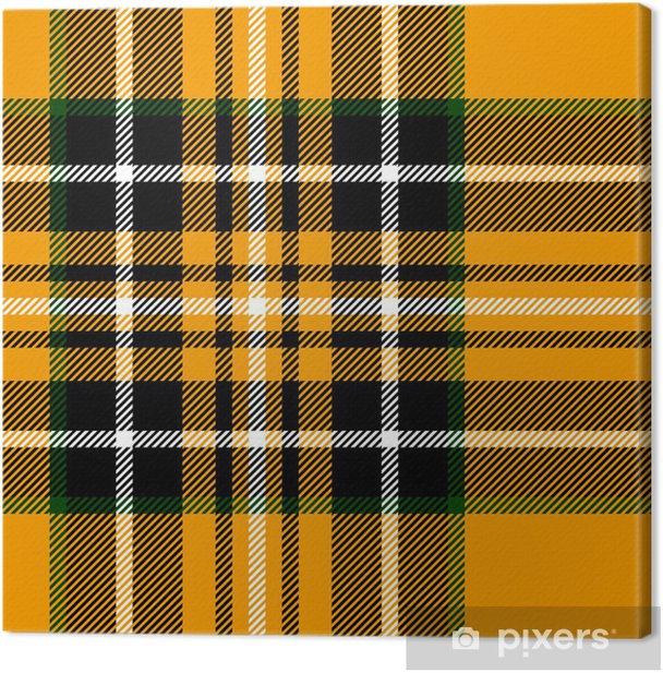 13fa3a7b5a Tartan traditional british fabric seamless pattern, yellow black Canvas  Print