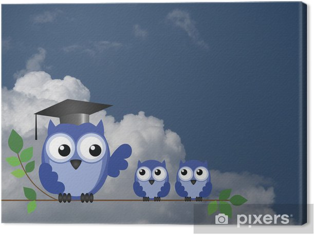 Teacher owl and pupils Canvas Print - Themes