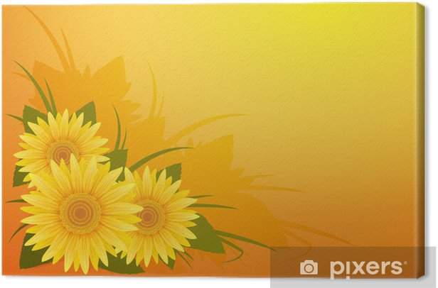 Template with sunflowers. Canvas Print - Themes