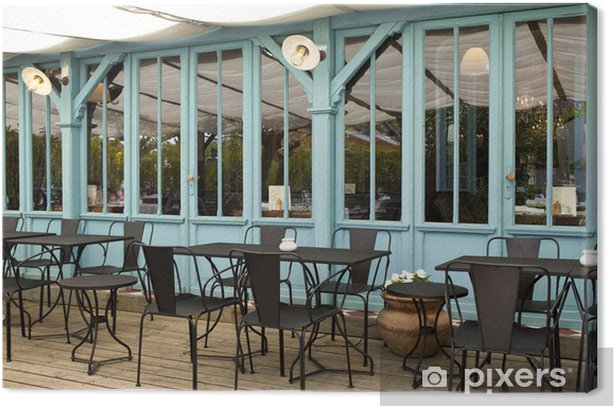 Terrasse Café Bistrot Restaurant Bois Mobilier Cabane Canvas Print