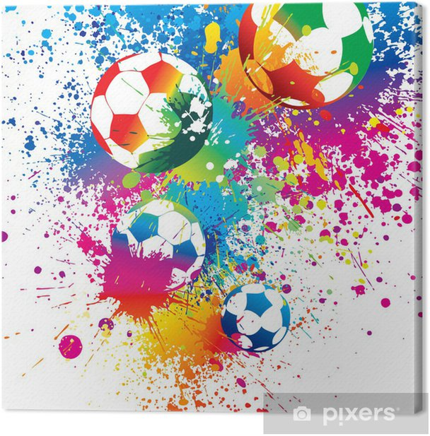 The colorful footballs on a white background Canvas Print - Signs and Symbols