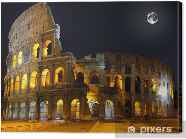 The Colosseum, Rome. Night view Canvas Print - Europe
