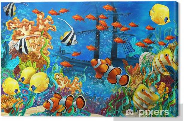 The coral reef - illustration for the children Canvas Print - Coral reef