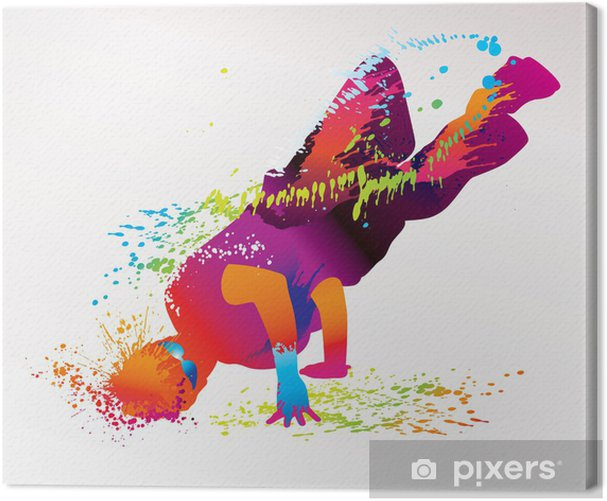 The dancing boy with colorful spots and splashes. Vector Canvas Print - Themes