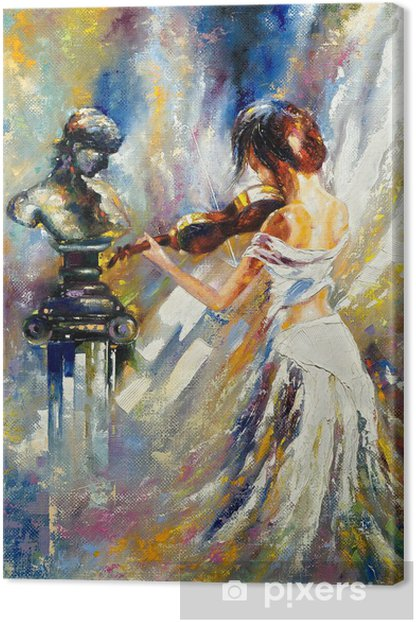 The girl playing a violin Canvas Print - Styles