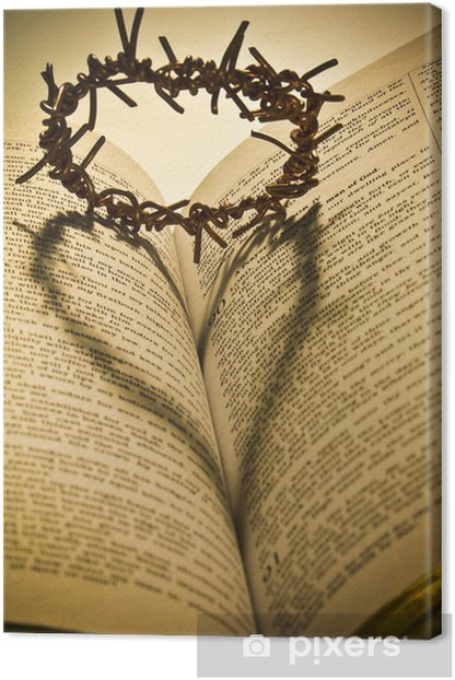 The Holy Bible and the Crown of Thorns Canvas Print - Abstract