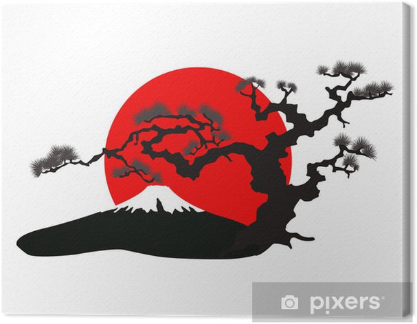 the Japanese landscape silhouette vector Canvas Print - Wall decals