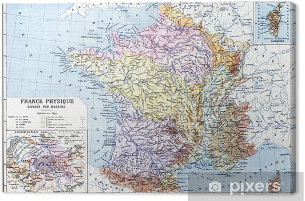 The Map- France physical (France - Divided into Basins) Canvas Print