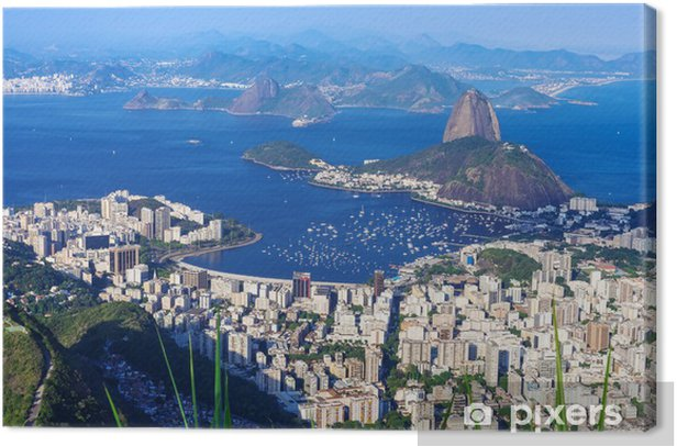 The mountain Sugar Loaf and Botafogo in Rio de Janeiro Canvas Print - Brazil