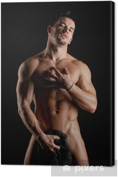 The muscular young sexy naked man wrapped in a silk cloth Canvas Print - Themes