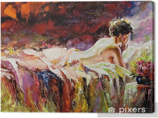 The naked girl laying on a bed Canvas Print - Styles