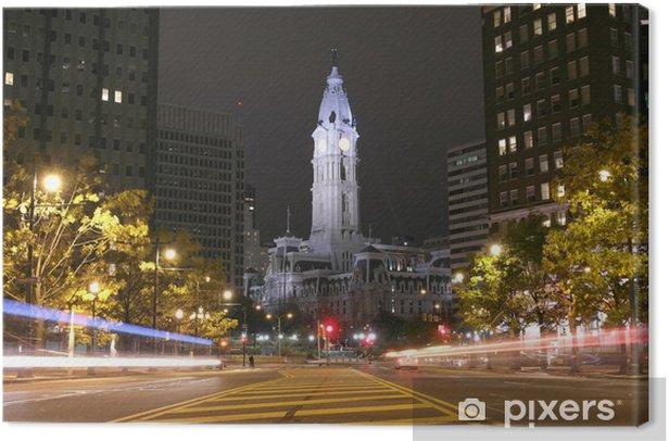 The Philadelphia City Hall building at night Canvas Print - America