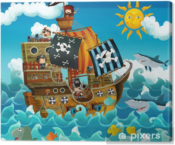 The pirates on the sea - illustration for the children Canvas Print - Destinations