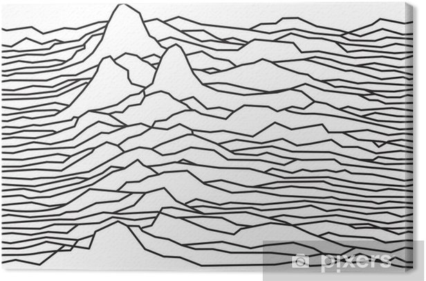 The rhythm of the waves, the pulsar, vector lines design, broken lines, mountains Canvas Print - Graphic Resources